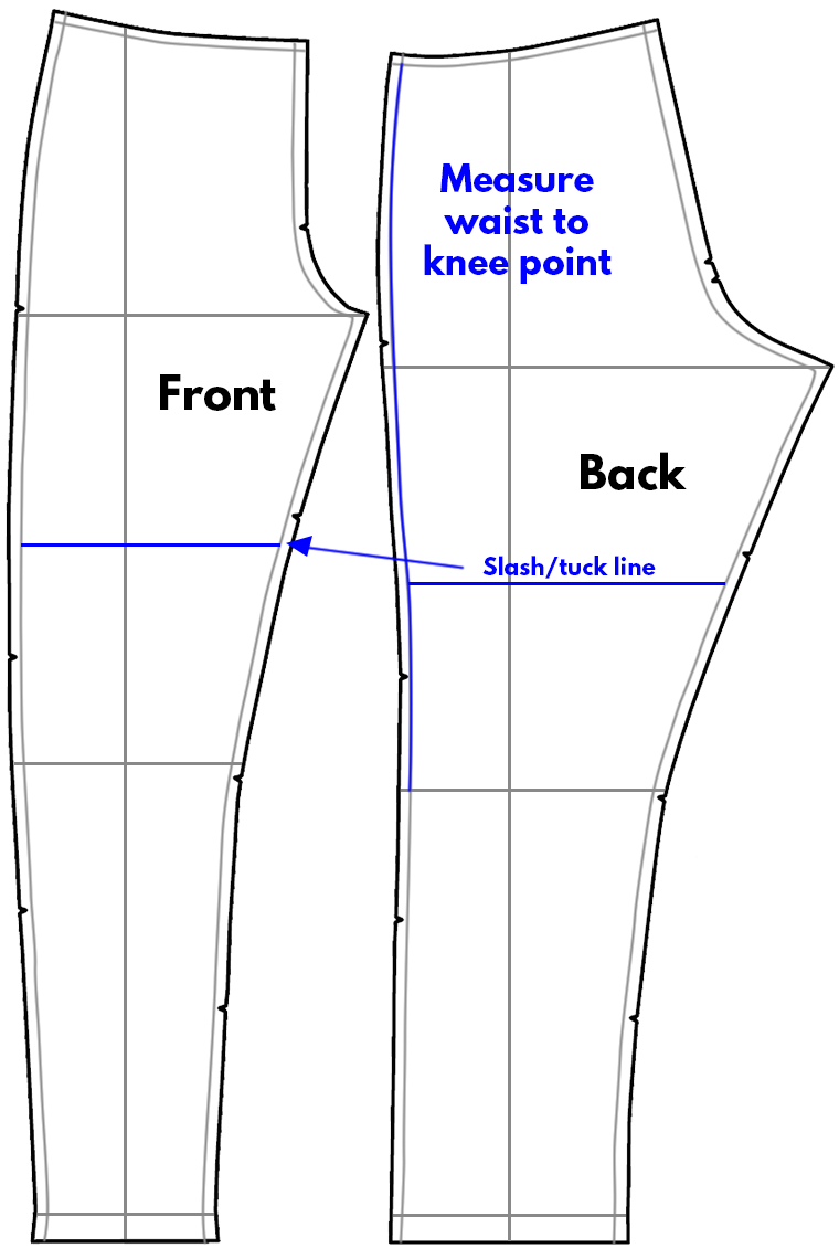 Sewing Pants Pattern Adjustments Waist to Knee