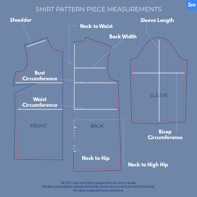 Flat Pattern Measuring Sie Macht Shirt Pattern PIece Measurements